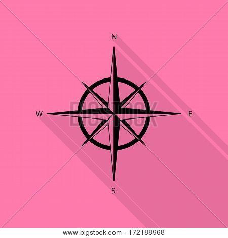 Wind rose sign. Black icon with flat style shadow path on pink background.