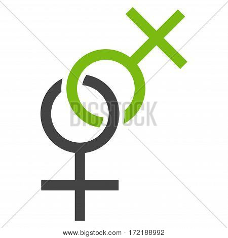 Lesbian Love Symbol flat icon. Vector bicolor light green and gray symbol. Pictograph is isolated on a white background. Trendy flat style illustration for web site design logo ads apps