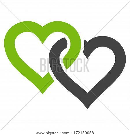 Linked Hearts flat icon. Vector bicolor light green and gray symbol. Pictogram is isolated on a white background. Trendy flat style illustration for web site design logo ads apps user interface.