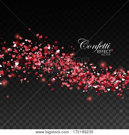 Glowing stream of sparkling hearts. Abstract vector illustration of shiny red stream isolated on checkered transparent background. Valentines day decoration element for holiday design