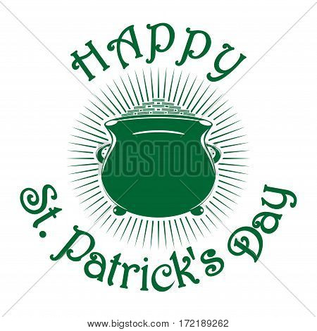 Magic leprechaun pot of gold coins. Happy Valentine's Day. Pot of gold.  Vector illustration