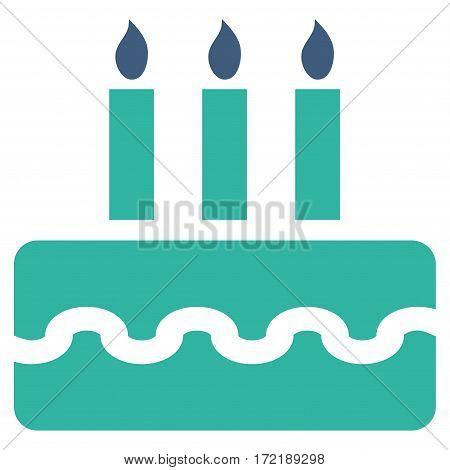Birthday Cake flat icon. Vector bicolor cobalt and cyan symbol. Pictogram is isolated on a white background. Trendy flat style illustration for web site design logo ads apps user interface.