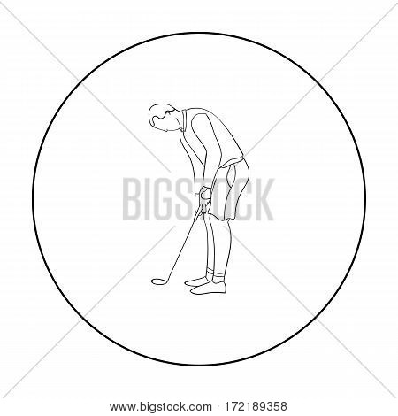 Golfer before kick icon in outline style isolated on white background. Golf club symbol vector illustration.
