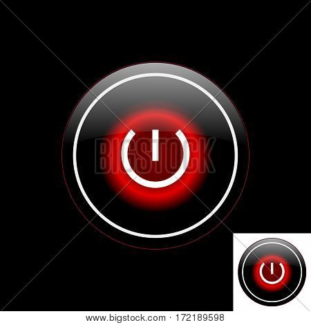 Black button with the power icon with the red backlight