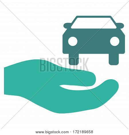 Car Gift Hand flat icon. Vector bicolor cobalt and cyan symbol. Pictogram is isolated on a white background. Trendy flat style illustration for web site design logo ads apps user interface.