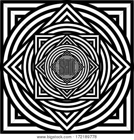 Vector abstract background. Optical illusion. Black and white squares and circles.