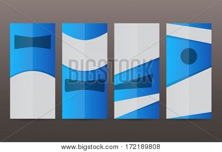 Set Vertical Banners Blue Background09