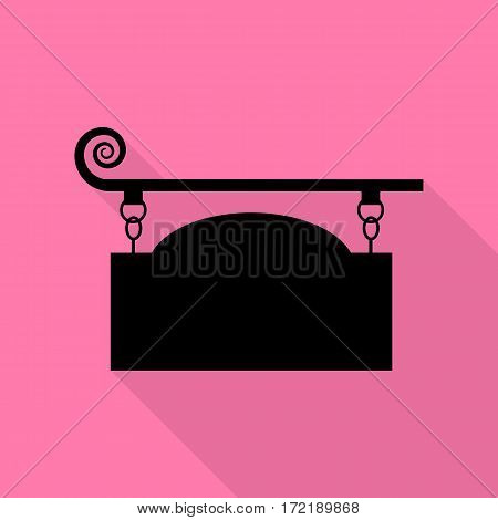 Wrought iron sign for old-fashioned design. Black icon with flat style shadow path on pink background.