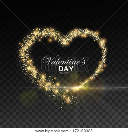 Happy Valentines Day. Glowing stream of sparkles and lens flare light effect. Holiday vector illustration of shiny heart path isolated on checkered transparent background. Decoration element