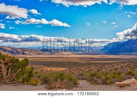 Beautiful stone desert landscape in Nevada, USA.