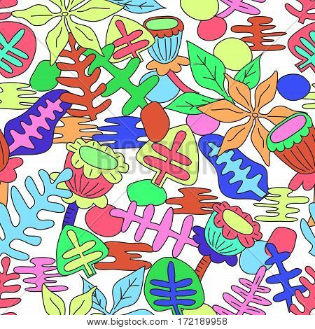 Vector seamless pattern background with hand drawn bright whimsical plants. Happy Birthday. Happy Women's Day. Happy Mother's Day.