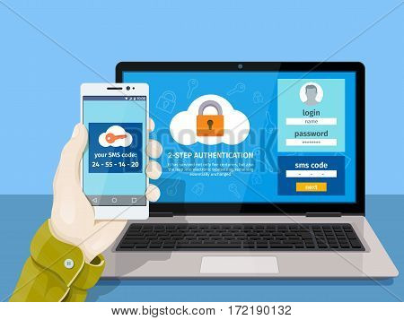 Flat man sitting at desktop and getting access to the website. Two steps authentication on computer. A man is sitting at a laptop with a mobile phone in his hand. Vector illustration for website