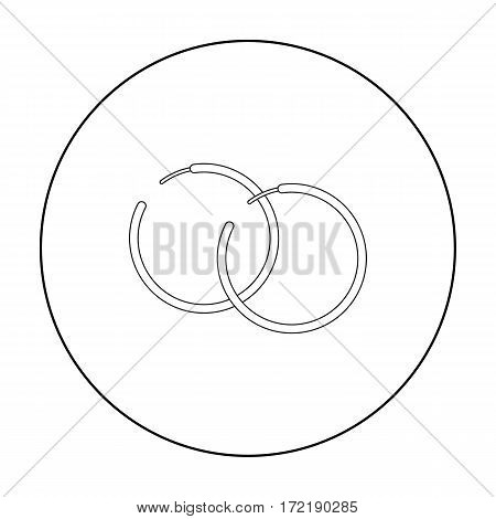 Hoop earrings icon in outline style isolated on white background. Jewelry and accessories symbol vector illustration.