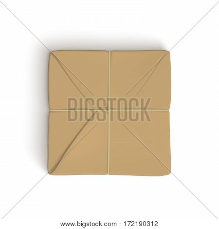 Realistic template of parcel wrapped up with brown paper, tied up with twine