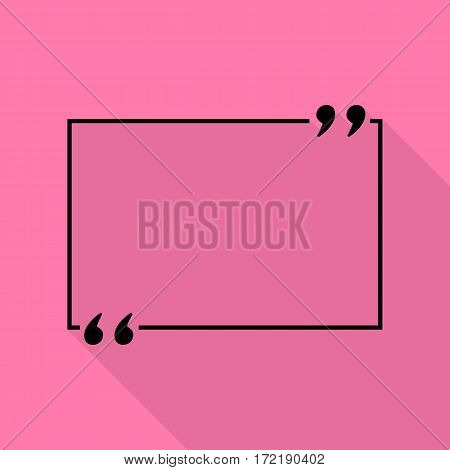 Text quote sign. Black icon with flat style shadow path on pink background.