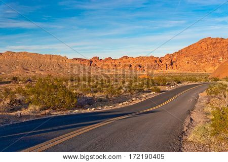 A road in the stone desert of Nevada USA.