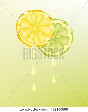 Delicious lemon and lime slices on gradient background