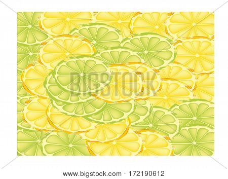 Sweet delicious ripe lemons and limes slices