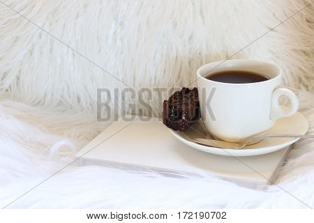 Warm and cozy faux fur furniture with coffee, biscotti and book with room for copy.