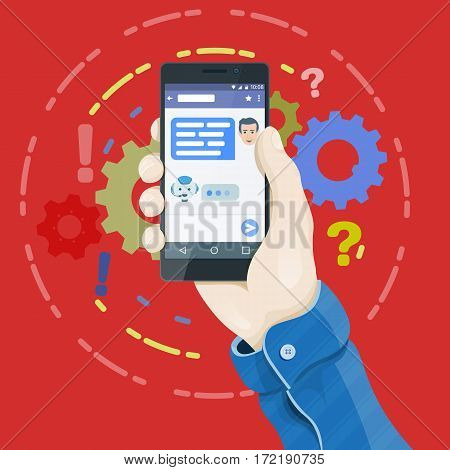 Man's hand holding a phone concept. Chatbot concept in flat style. Hand holding smartphone with chatting bot application on the screen.Dialogue on the smartphone screen. Vector illustration.