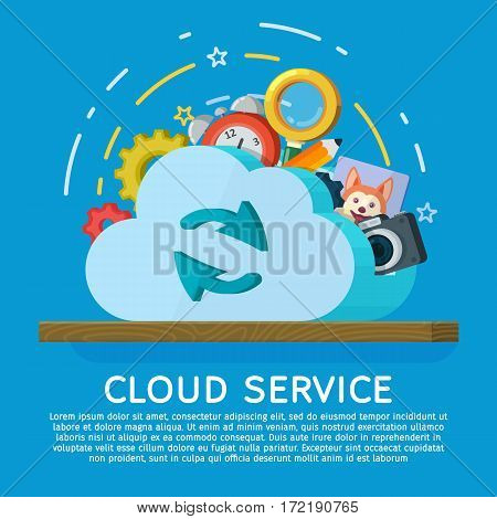 Cloud computing services banner in flat style. Networking communication and data icons. Data provision and cloud computing services. Data protection online cloud storage security privacy.