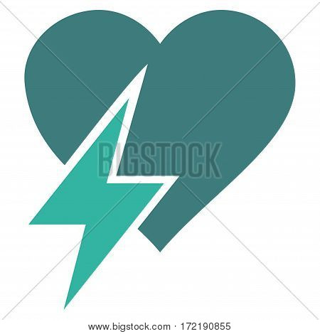 Heart Shock flat icon. Vector bicolor cobalt and cyan symbol. Pictogram is isolated on a white background. Trendy flat style illustration for web site design logo ads apps user interface.