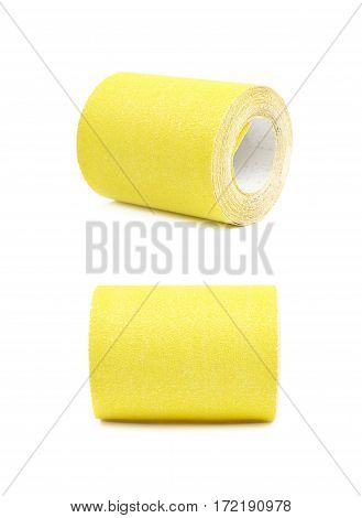 Roll of a sandpaper emery paper isolated over the white background, set of two different foreshortenings