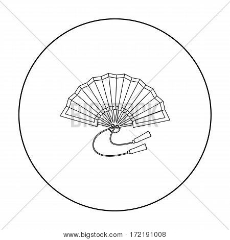 Folding fan icon in outline style isolated on white background. Japan symbol vector illustration.