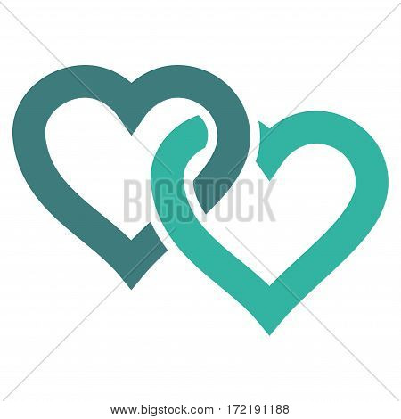 Linked Hearts flat icon. Vector bicolor cobalt and cyan symbol. Pictogram is isolated on a white background. Trendy flat style illustration for web site design logo ads apps user interface.