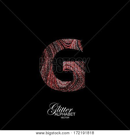 Letter G of red and silver glitters. Typographic vector element for design. Part of curly textured alphabet with shiny paillettes. Letter G with diffusion glitter swirly pattern. Vector illustration