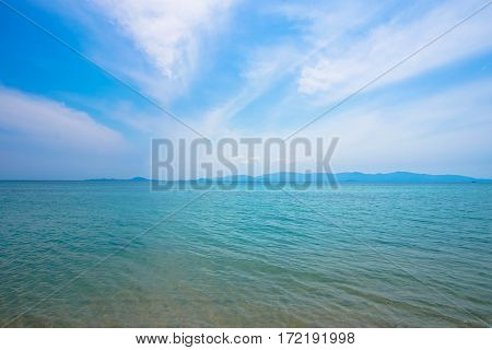 Tranquil Blue Seascape. Phangan island in Thailand