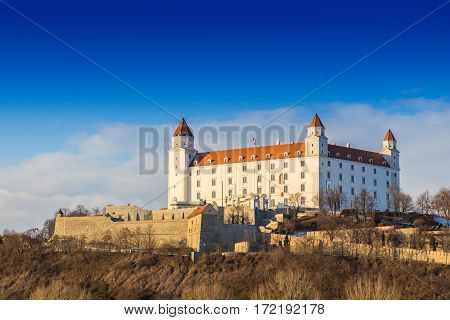 Bratislava castle and Danube river and beautiful sunset Slovakia