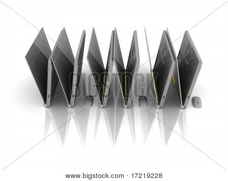 laptops and mise as WWW on the white background