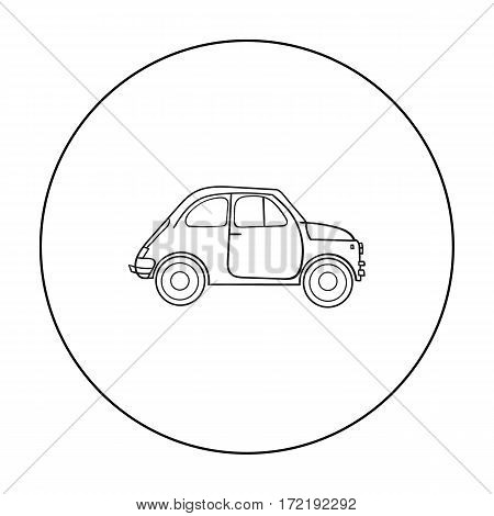 Italian retro car from Italy icon in outline style isolated on white background. Italy country symbol vector illustration.