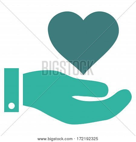 Love Heart Offer Hand flat icon. Vector bicolor cobalt and cyan symbol. Pictogram is isolated on a white background. Trendy flat style illustration for web site design logo ads apps