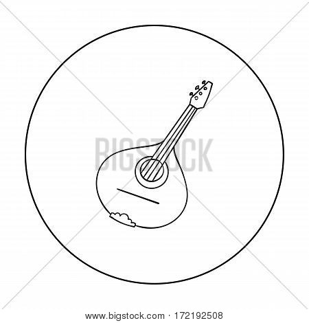 Italian mandolin icon in outline style isolated on white background. Italy country symbol vector illustration.