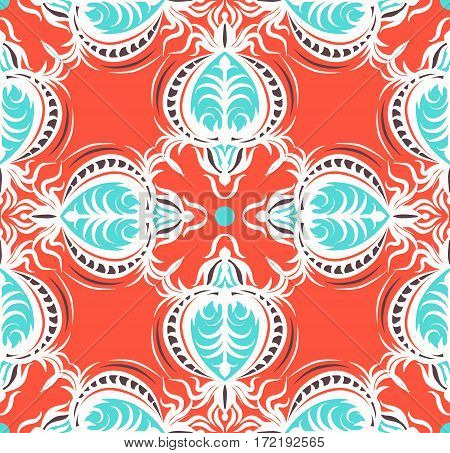 Design of Seamless pattern with floral and geometrical ornament in retro style. Vector illustration. The orange and blue drawing with arabesques.