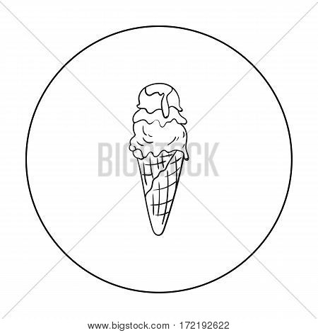 Italian gelato icon in outline style isolated on white background. Italy country symbol vector illustration.