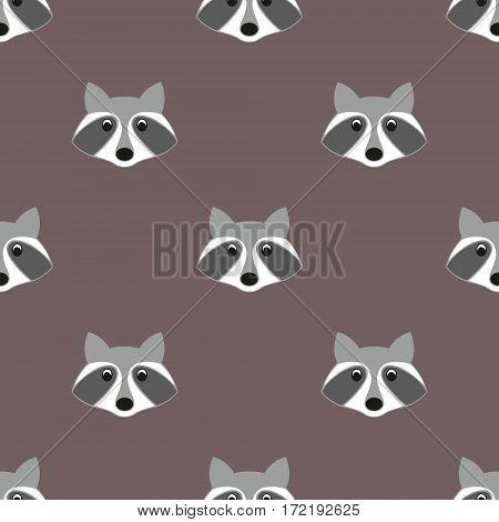 Stylized head raccoon in cartoon style. Seamless pattern