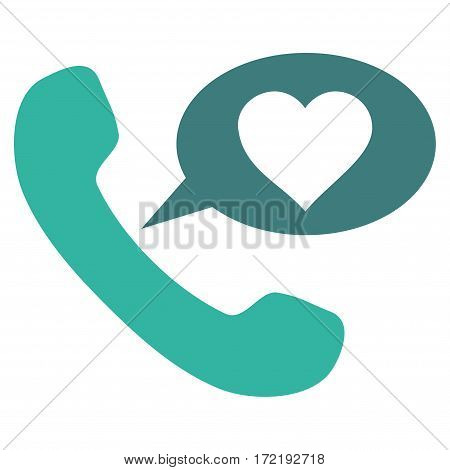 Love Phone Message flat icon. Vector bicolor cobalt and cyan symbol. Pictogram is isolated on a white background. Trendy flat style illustration for web site design logo ads apps user interface.