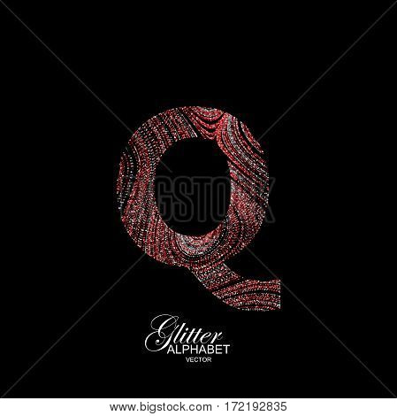 Letter Q of red and silver glitters. Typographic vector element for design. Part of curly textured alphabet with shiny paillettes. Letter Q with diffusion glitter swirly pattern. Vector illustration