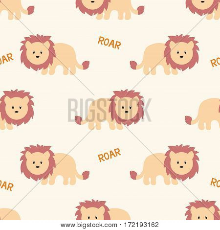 Stylized lion cartoon style. Seamless vector pattern