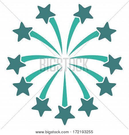 Spherical Fireworks flat icon. Vector bicolor cobalt and cyan symbol. Pictograph is isolated on a white background. Trendy flat style illustration for web site design logo ads apps user interface.
