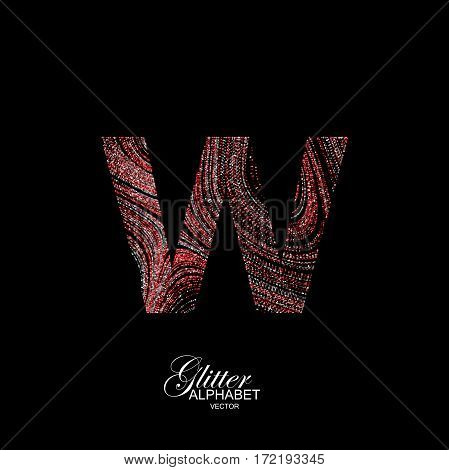 Letter W of red and silver glitters. Typographic vector element for design. Part of curly textured alphabet with shiny paillettes. Letter W with diffusion glitter swirly pattern. Vector illustration