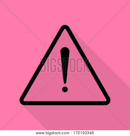 Exclamation danger sign. Flat style. Black icon with flat style shadow path on pink background.