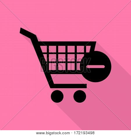 Vector Shopping Cart with Remove sign. Black icon with flat style shadow path on pink background.