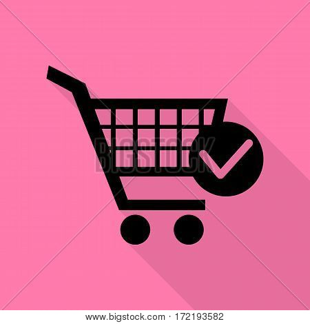 Shopping Cart with Check Mark sign. Black icon with flat style shadow path on pink background.
