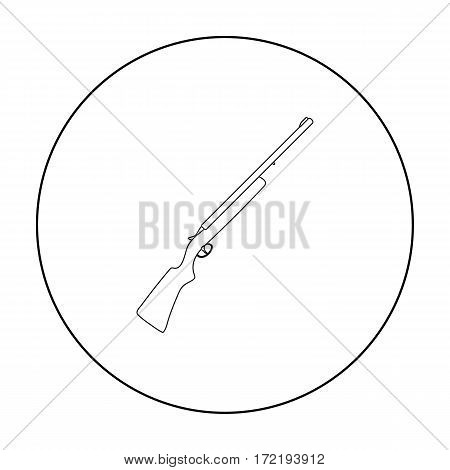 Hunting rifle icon in outline style isolated on white background. Hunting symbol vector illustration.