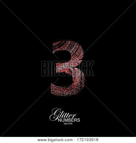 Number 3 of red and silver glitters. Typographic vector element for design. Part of curly textured alphabet with shiny paillettes. Digit three with diffusion glitter swirly pattern. Vector illustration