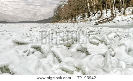Nemunas water frozen into the ice in winter